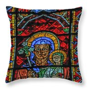 Stained Glass Of Chartres Throw Pillow