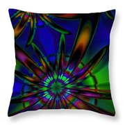 Stained Glass Passion Flowers Throw Pillow