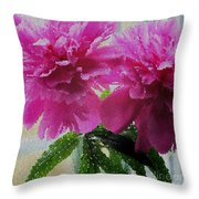 Stained Glass Peonies Throw Pillow