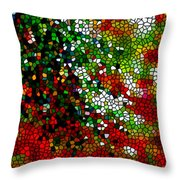 Stained Glass Pine Tree Throw Pillow