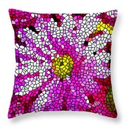 Stained Glass Pink Chrysanthemum Flower Throw Pillow