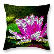 Stained Glass Pink Lotus Flower   Throw Pillow by Lanjee Chee
