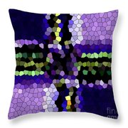 Stained Glass Purple Cross Throw Pillow