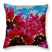 Stained Glass Red Sunflowers Throw Pillow