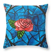 Stained Glass Roses Throw Pillow