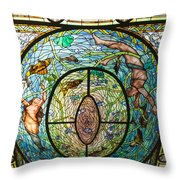 Stained Glass Skylight In Fordyce Bathhouse Throw Pillow