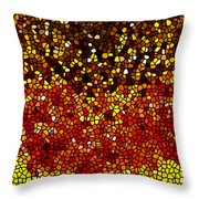 Stained Glass Sunflower Closeup Throw Pillow by Lanjee Chee