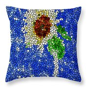 Stained Glass  Sunflower Over The Blue Sky Throw Pillow