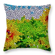 Stained Glass Sunflowers Throw Pillow
