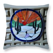 Stained Glass Sunrise Throw Pillow