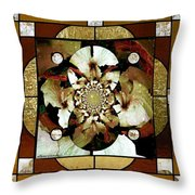 Stained Glass Template Sepia Flora Kalidescope Throw Pillow