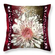 Stained Glass Template White Chrysanthemum Throw Pillow