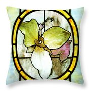 Stained Glass Template Woodlands Flora Throw Pillow