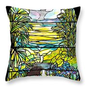 Stained Glass Tiffany Holy City Memorial Window Throw Pillow