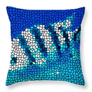 Stained Glass Underwater Fish Throw Pillow