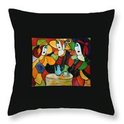 Stained Glass V Throw Pillow