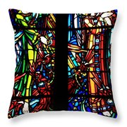 Stained Glass Window At Mont  Le Saint-michel Throw Pillow