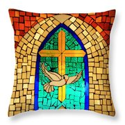 Stained Glass Window At Santuario De Chimayo Throw Pillow