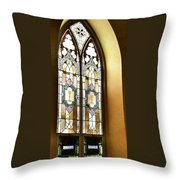 Stained Glass Window In Arch Throw Pillow