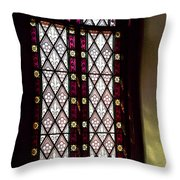 Stained Glass Window In Saint Paul's Episcopal Church-1882 In Tombstone-az Throw Pillow