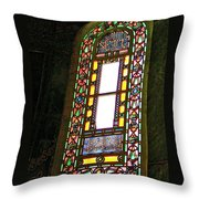Stained Glass Window In Saint Sophia's In Istanbul-turkey  Throw Pillow