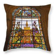 Stained Glass Window In Seville Cathedral Throw Pillow