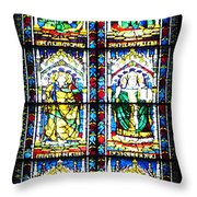 Stained Glass Window Of Santa Maria Del Fiore Church Florence Italy Throw Pillow