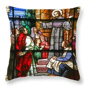 Stained Glass Window Saint Augustine Preaching Throw Pillow by Christine Till