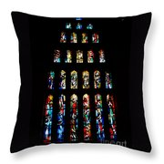 Stained Glass Windows At Basilica Of The Annunciation Throw Pillow by Eva Kaufman