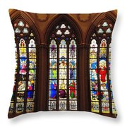 Stained Glass Windows At Saint Josephs Cathedral Buffalo New York Throw Pillow