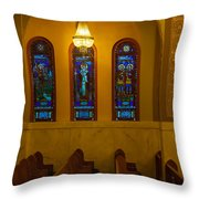 Stained Glass Windows At St Sophia Throw Pillow