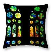 Stained Glass Windows - Sagrada Familia Barcelona Spain Throw Pillow