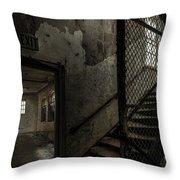 Stairs And Corridor Inside An Abandoned Asylum Throw Pillow by Gary Heller
