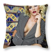 Stairs And Stripes Palm Springs Throw Pillow