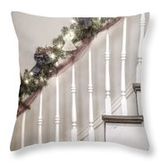 Stairs At Christmas Throw Pillow by Margie Hurwich
