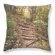 Stairs Into The Forest Throw Pillow