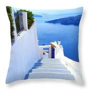 Stairs To The Blue Door Throw Pillow