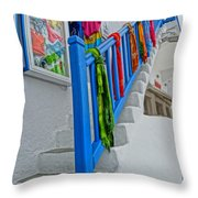Stairs With Blue Railing In Mykonos Greece Throw Pillow