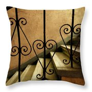 Stairs With Ornamented Handrail Throw Pillow