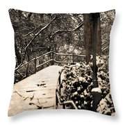 Stairway In Central Park On A Stormy Day Throw Pillow
