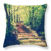 Stairway Into The Forest Throw Pillow