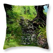 Stairway Through The Forest Throw Pillow