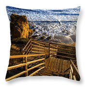 Steps To Blue Ocean And Rocky Beach Throw Pillow