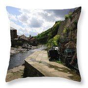 Staithes Harbour Throw Pillow