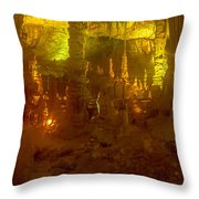 Stalactite Cave In Yellow Throw Pillow
