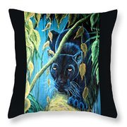 Stalking Black Panther Throw Pillow