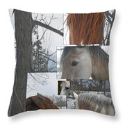 Stallions Collage There Is A Connection Throw Pillow