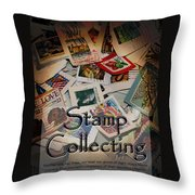 Stamp Colleting Throw Pillow