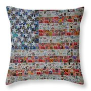 Stamps And Stripes Renegade Colony Throw Pillow