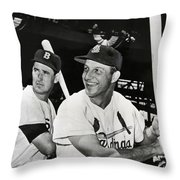 Stan Musial And Ted Williams Throw Pillow